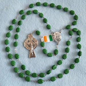 Irish ROSARY Clover green beads KNOCK WATER